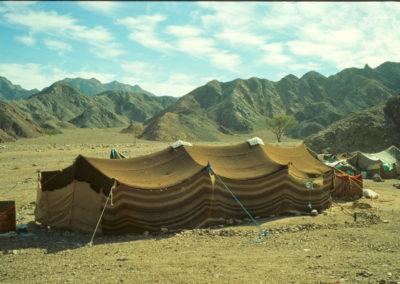 """Schwarzes Zelt - Nur noch sehr wenige Familien leben dauerhaft in so einem traditionellen Zelt. Es wird aus Ziegenhaarschnüren gewebt und war über Jahrtausende die """"Mobilie"""", in der die Beduinen lebten: Ein gut gewebtes Zelt lässt kein Regenwasser durch. Als die Beduinen noch nomadisch lebten, packten sie ihre """"Haarhäuser"""" einfach auf Kamele und konnten so hinziehen, wo immer es geregnet hatte"""